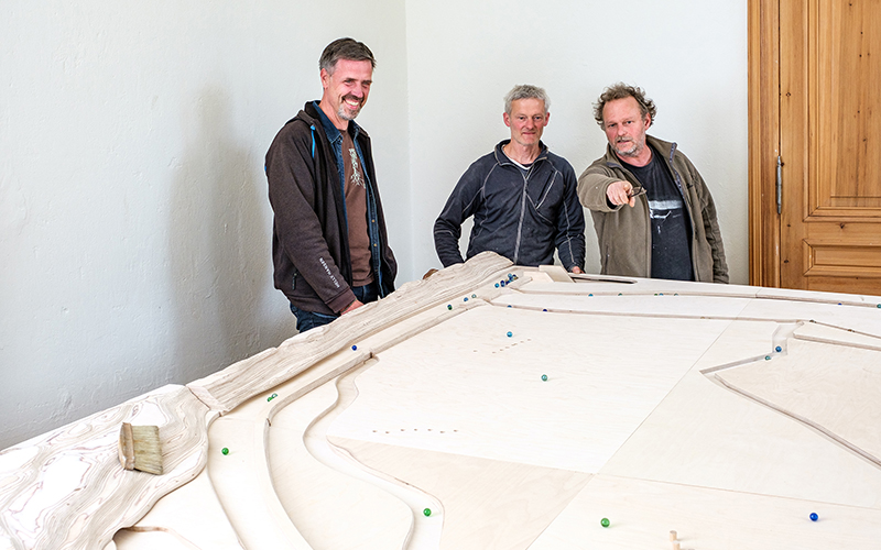 Funktionsprobe der Oderbruch-Murmelbahn